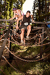 June 1, 2013. Huntersville, North Carolina<br />  In the wooded part of the course, one obstacle required runners to navigate a pyramid made up of chains.<br />  A North Carolina chapter of The Warrior Dash, which consists of a 5k run/walk broken up by several obstacles, was held over the weekend with thousands turning out to test their abilities in a race against the clock and each other. Participants in all age groups were sent out in heats over the course of the entire day.