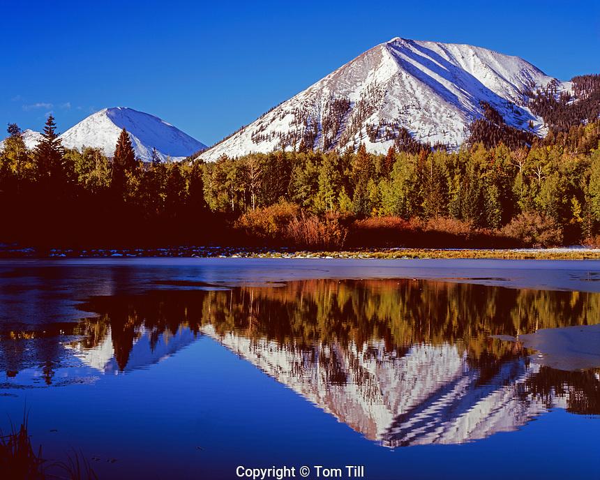Warner LAke reflections, Manti-La Sal Mountains, near Moab, Haystack Mountain and Mt. Mellinthin, early fall snow