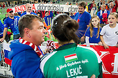 Andrea Lekic and Krimovci, fans of Krim after the handball match between RK Krim Mercator and Gyori Audi ETO KC (HUN) in 3rd Round of Group B of EHF Women's Champions League 2012/13 on October 28, 2012 in Arena Stozice, Ljubljana, Slovenia. Gyori defeated Krim Mercator 31-20. (Photo By Vid Ponikvar / Sportida)