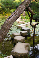 Myriad paths with scarcely a traveler<br /> Yesterday's wanderings seem like a dream<br /> -Ryokan<br /> <br /> A trained pine bends over the stepping stones that make up the famous Garyukyo Bridge at Kyoto's Heian Shrine, Japan.<br /> <br /> (title translation Ryuichi Abe &amp; Peter Haskel)