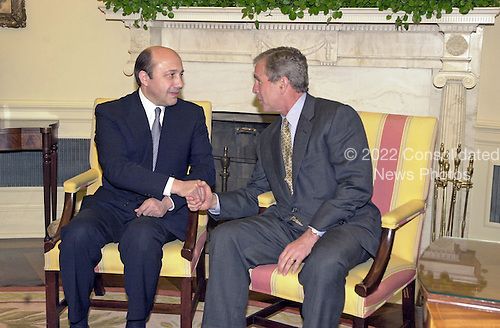United States President George W. Bush welcomes Foreign Minister Igor Ivanov of Russia to the Oval Office of the White House in Washington, DC for talks on May 18, 2001.<br /> Credit: Ron Sachs / CNP