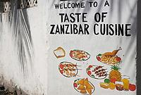 Afrique/Afrique de l'Est/Tanzanie/Zanzibar/Ile Unguja/Stone Town: Mur peint, enseigne d'un restaurant de la vieille ville