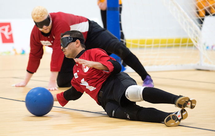 MISSISSAUGA, ON, AUGUST 14, 2015. Semi Final Goalball Action - CAN 2 vs USA 3 (OT) in men's play - Ahmad Zeividavi<br /> Photo: Dan Galbraith/Canadian Paralympic Committee