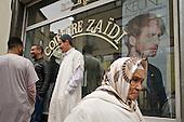 In front of a mosque in Brussels' Molenbeek neighbourhood, a hotbed of Islamic fundamentalism.