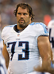 Tennessee Titans'  guard Steve Hutchinson walks along the sideline in a pre-season game against the Seattle Seahawks at CenturyLink Field in Seattle, Washington on August 11, 2012. 2012. Jim Bryant Photo. All Rights Reserved...