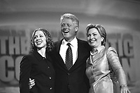 LOS ANGELES, CA - August 14, 2000: President Bill Clinton with Hillary and Chelsea Clinton after speaking at the 2000 Democratic National Convention at the Staples Center in Los Angeles, California.