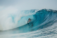 Namotu Island Resort, Fiji. (Wednesday, September 12, 2012) - Former pro surfer Maz Quinn (NZL) enjoying a session at Cloudbreak.  There was virtually no wind this morning and crew hit Restaurants and Cloudbreak early. The swell had jumped overnight and was sitting in 10' + range with some drainers on the inside of Cloudbreak and some big wash throughs out the back. Namotu Lefts, Wilkes and Swimming Pools all had waves through the morning till the tide got too low. Photo: joliphotos.com
