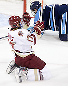 Brian Gibbons (BC - 17) celebrates his short-handed goal which made it 2-0 BC with 1:02 remaining in the first period. - The Boston College Eagles defeated the visiting University of Maine Black Bears 4-0 on Friday, November 19, 2010, at Conte Forum in Chestnut Hill, Massachusetts.