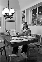 Actress Jodie Foster, age 14, at home on the typewriter, Los Angeles, November, 1977. Photo by John G. Zimmerman. P94427-C06-F25A.