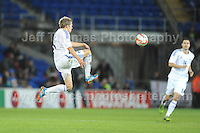 Some acrobatics from Riku Riski of Finland during the Wales v Finland Vauxhall International friendly football match at the Cardiff City stadium, Cardiff, Wales. Photographer - Jeff Thomas Photography. Mob 07837 386244. All use of pictures are chargeable.