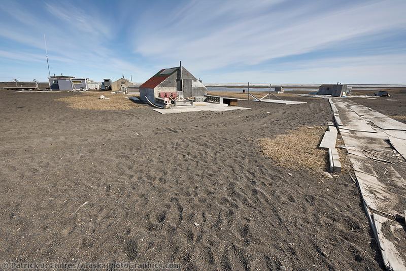 Native Inupiaq hunting and fishing camp on Point Utqiagvik (Barrow), Alaska.