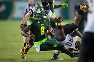 Tampa, FL - September 4th, 2016: South Florida Bulls quarterback Quinton Flowers (9) stops on a dime and cuts back across field during game against Towson at Raymond James Stadium in Tampa, FL. (Photo by Phil Peters/Media Images International)
