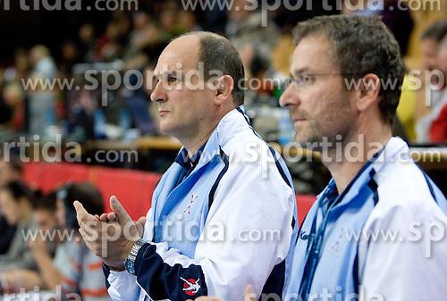Head coach of Slovenia Ivica Rimanic and Bostjan Brulec at Women European Championships Qualifying handball match between National Teams of Slovenia and Belarus, on October 17, 2009, in Kodeljevo, Ljubljana.  (Photo by Vid Ponikvar / Sportida)