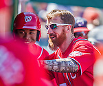 7 September 2014: Washington Nationals first baseman Adam LaRoche returns to the dugout after hitting a solo home run against the Philadelphia Phillies at Nationals Park in Washington, DC. The Nationals defeated the Phillies 3-2 to salvage the final game of their 3-game series. Mandatory Credit: Ed Wolfstein Photo *** RAW (NEF) Image File Available ***