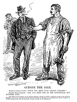 """Outside the Pale. American Labour Leader. """"Won't you meet your German comrade?"""" British Trade Unionist. """"Yes, I'll meet him on the battlefield, but nowhere else."""" [The Trade Union Congress, by an immense majority, refused to consider a suggestion made by the American Federation of Labour that German trade unionists should be admitted to an International Labour Congress, to be held simultaneously with the discussion of terms of peace by the belligerents.] (WW1 cartoon showing an industrial worker with a large hammer while a German worker hides in the background)"""