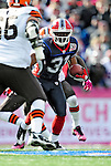 11 October 2009: Buffalo Bills' cornerback Jairus Byrd intercepts a Derek Anderson pass during a game against the Cleveland Browns at Ralph Wilson Stadium in Orchard Park, New York. The Browns defeated the Bills 6-3 for Cleveland's first win of the season...Mandatory Photo Credit: Ed Wolfstein Photo