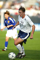 Abby Wambach dribbles the ball during a 0-0 tie with Japan in San Diego, Calif.,  January 12, 2003.