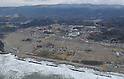 February 26, 2012, Fukushima, Japan - The tsunami-stricken town of Hirono, Fukushima Prefecture, as seen by a Mainichi helicopter on Feb. 26, 2012. In the center of the photograph is the Hirono Junior High School.