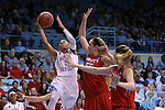 21 March 2015: North Carolina's Latifah Coleman (2) shoots over Liberty's Ashley Rininger (55) and Catherine Kearney (44). The University of North Carolina Tar Heels hosted the Liberty University Flames at Carmichael Arena in Chapel Hill, North Carolina in a 2014-15 NCAA Division I Women's Basketball Tournament first round game.