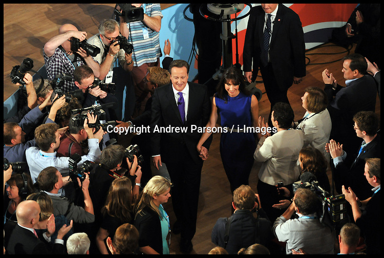 The Prime Minister David Cameron with his wife Samantha after delivering his speech to The Conservative Party Conference at ICC, Birmingham, Wednesday October 10, 2012. Photograph by Andrew Parsons / i-Images