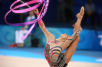 August 23, 2008; Beijing, China; Rhythmic gymnast Simona Peycheva of Bulgaria performs with ribbon on way placing 10th in the Individual All-Around final at 2008 Beijing Olympics..(©) Copyright 2008 Tom Theobald