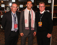 A.J Soares with New England coaches at the 2011 MLS Superdraft, in Baltimore, Maryland on January 13, 2010.