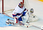 15 November 2008:  Montreal Canadiens' goaltender Jaroslav Halak from Slovakia makes a save against the Philadelphia Flyers in the third period at the Bell Centre in Montreal, Quebec, Canada.  The Canadiens, celebrating their 100th season, fell to the visiting Flyers 2-1. ***Editorial Sales Only***..Mandatory Photo Credit: Ed Wolfstein Photo *** Editorial Sales through Icon Sports Media *** www.iconsportsmedia.com