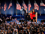 Chicago, Illinois, USA, 20081105:   Presidential Candidate Barack Obama and his wife Michelle along with theyr girls Sasha and Malia on the stage on Hutchinson Field in Grant Park in Chicago, after being elected the next President of the United States..Photo: Orjan F. Ellingvag/ Dagbladet/ Corbis
