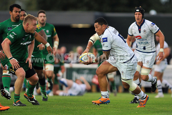 Anthony Perenise in possession. Pre-season friendly match, between London Irish and Bristol Rugby on August 22, 2014 at Hazelwood in Middlesex, England. Photo by: Patrick Khachfe / JMP