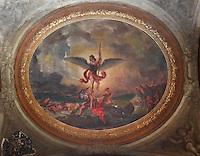 DELACROIX, Eugene, 1798-1863, Saint Michel terrassant le Dragon (St Michael slaying the dragon), ceiling fresco, 1855-61, in Eglise Saint-Sulpice (St Sulpitius' Church), c.1646-1745, late Baroque church on the Left Bank, Paris, France. Picture by Manuel Cohen