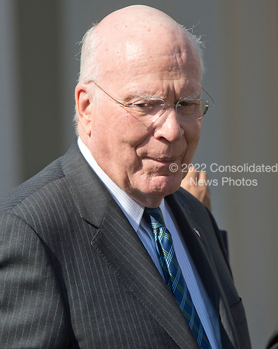 United States Senator Patrick Leahy (Democrat of Vermont), Ranking Member, US Senate Judiciary Committee, prior to US President Barack Obama introducing Judge Merrick Garland, chief justice for the US Court of Appeals for the District of Columbia Circuit, as his nominee to replace the late Associate Justice Antonin Scalia on the U.S. Supreme Court in the Rose Garden of the White House in Washington, D.C. on Wednesday, March 16, 2016. <br /> Credit: Ron Sachs / CNP