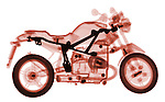 X-ray image of a toy motorcycle (red on white) by Jim Wehtje, specialist in x-ray art and design images.