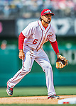 15 May 2016: Washington Nationals third baseman Anthony Rendon in action against the Miami Marlins at Nationals Park in Washington, DC. The Marlins defeated the Nationals 5-1 in the final game of their 4-game series.  Mandatory Credit: Ed Wolfstein Photo *** RAW (NEF) Image File Available ***
