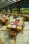 Chile, Lake Country: Hotel Natura in Peulla, scene of fine dining and luxury lodging.  Hotel dining room..Photo #: ch664-33424..Photo copyright Lee Foster www.fostertravel.com, lee@fostertravel.com, 510-549-2202.