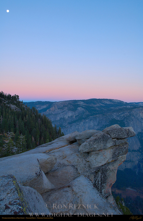 Moon over Overhanging Rock at First Light, Glacier Point, Yosemite National Park