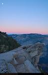 Moon over Overhanging Rock at First Light, Glacier Point, Yosemite National Park