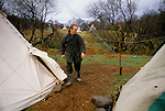 TeePee Vallet Llandeilo Wales. Rick drop out alternative hippy life style. 120 people live here all year round. 1980s Britain.<br /> <br /> Rev. Rick Mayes