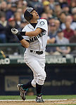 Seattle Mariners  Ichiro Sukuzi watches his infield field pop fly against. Oakland Athletics in the opening home game of the season at SAFECO Field in Seattle April 12, 2010. The Athletics beat the Mariners 4-0. Jim Bryant Photo. &copy;2010. ALL RIGHTS RESERVED.