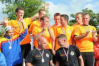 KAATSEN: FRANEKER: Sportcomplex 'De Trije', 01-09-2012, Wereldkampioenschap Kaatsen, Llargues, Eindhuldiging, Team Nederland (wereldkampioen), ©foto Martin de Jong