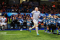 Matt Garvey of Bath Rugby leads his team-mates out onto the field. European Rugby Challenge Cup match, between Cardiff Blues and Bath Rugby on December 10, 2016 at the Cardiff Arms Park in Cardiff, Wales. Photo by: Patrick Khachfe / Onside Images
