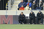 13 December 2013: Maryland head coach Sasho Cirovski (left). The University of Maryland Terripans played the University of Virginia Cavaliers at PPL Park in Chester, Pennsylvania in a 2013 NCAA Division I Men's College Cup semifinal match. Maryland won the game 2-1.