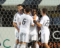 Joseph Ngwenya#11 of D.C. United  with teammates after scoring the second goal during the final round of the Carolina Challenge Cup against Toronto FC on March 12 2011 at Blackbaud Stadium in Charleston, South Carolina. D.C. The game ended in a 2-2 tie which was sufficient for D.C. United to win the tournament.