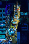Yangon City Street At Night
