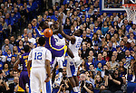 LSU forward Johnny O'Bryant III looses the ball after UK forward Nerlens Noel and UK forward Alex Poythress swat an attempted shot during the first half of the men's basketball game vs. LSU at Rupp Arena, in Lexington, Ky., on Saturday, January 26, 2013. Photo by Genevieve Adams  | Staff.