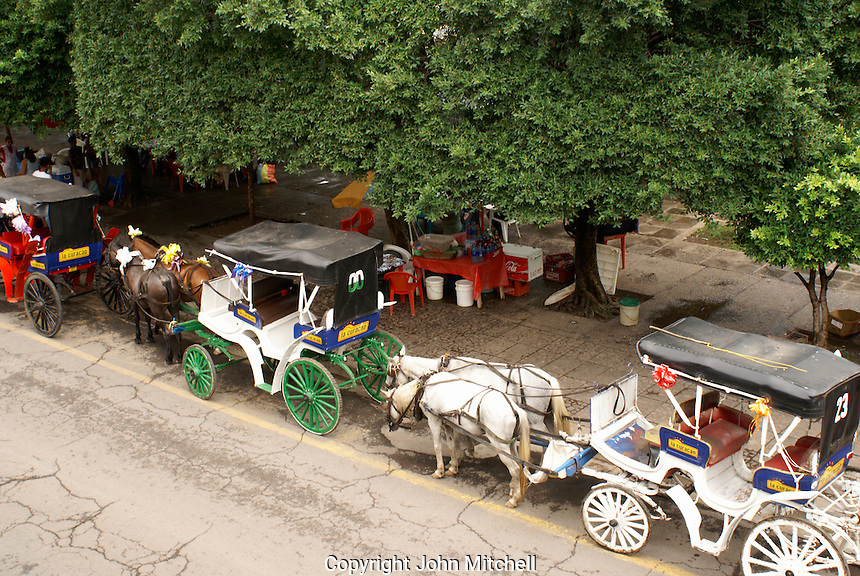 Horse drawn carriages next to Parque Colon, the main plaza in the Spanish colonial city of Granada, Nicaragua