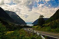 The view toward Maurangerfjord, Hordaland, Norway.