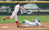 NWA Democrat-Gazette/ANDY SHUPE<br /> Harding Academy shortstop Pate Fullerton makes the relay throw to first after forcing out Greenland third baseman Luke Osburn  Friday, May 19, 2017, during the Class 3A state championship game at Baum Stadium in Fayetteville. Visit nwadg.com/photos to see more photographs from the game.