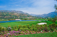 Golf Course Fairway Green Water Fountain Mountains Blue Sky Flowers