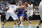 26 February 2012: Duke's Kathleen Scheer (24) is defended by North Carolina's Tierra Ruffin-Pratt (44) and Laura Broomfield (33). The Duke University Blue Devils defeated the University of North Carolina Tar Heels 69-63 at Carmichael Arena in Chapel Hill, North Carolina in an NCAA Division I Women's basketball game.