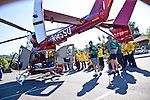 Members of the Los Altos Hills' Community Emergency Response Team (CERT) gathered at Foothill College July 18 to learn about emergency preparedness from a crew aboard Stanford University's EC 145 Life Flight helicopter.<br />